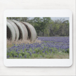 Haybales bluebonnets mouse pad