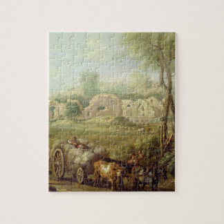 Haycart Passing a Ruined Abbey, c.1740-50 (oil on Jigsaw Puzzle