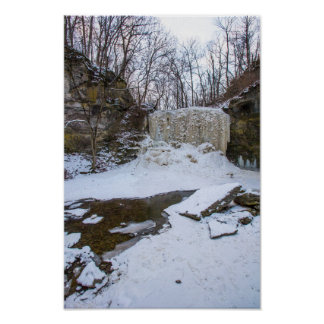 Hayden Run Falls in winter, Columbus, Ohio Poster