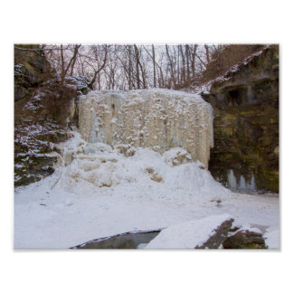 Hayden Run Falls in winter, Columbus, Ohio Poster