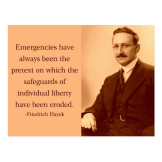 Hayek on Emergencies Postcard