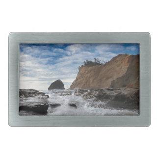 Haystack Rock at Cape Kiwanda Oregon coast USA Belt Buckle