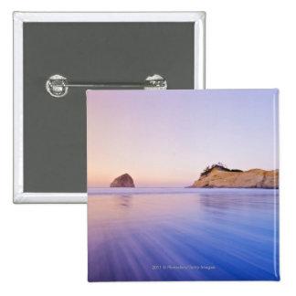 Haystack Rock At Dawn Blurred Blue Purple Waves 15 Cm Square Badge