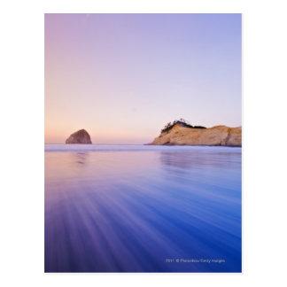 Haystack Rock At Dawn Blurred Blue Purple Waves Postcard