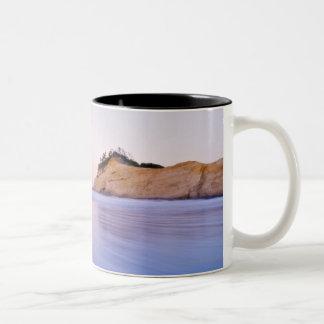 Haystack Rock At Dawn Blurred Blue Purple Waves Two-Tone Coffee Mug