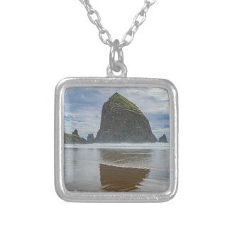 Haystack Rock, Cannon Beach, Oregon Silver Plated Necklace