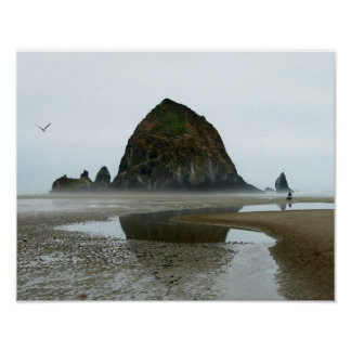 Haystack Rock Reflection, Cannon Beach, Oregon Poster