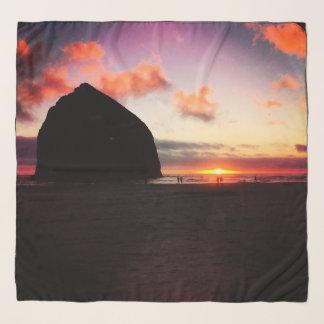 Haystack Rock Sunset Chiffon Scarf