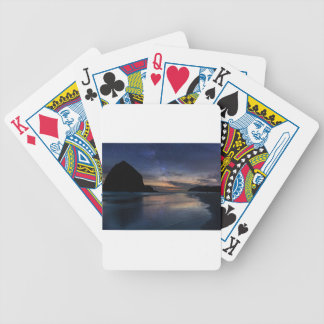 Haystack Rock under Starry Night Sky Bicycle Playing Cards