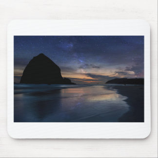 Haystack Rock under Starry Night Sky Mouse Pad