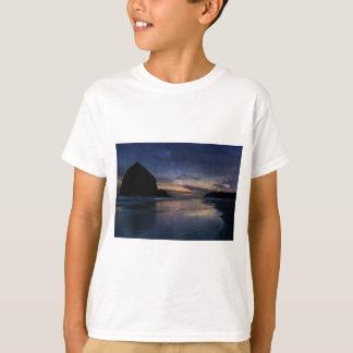 Haystack Rock under Starry Night Sky T-Shirt