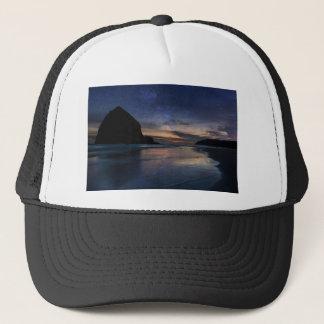Haystack Rock under Starry Night Sky Trucker Hat