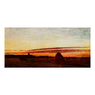 Haystacks at Chailly at Sunrise,1865 Poster