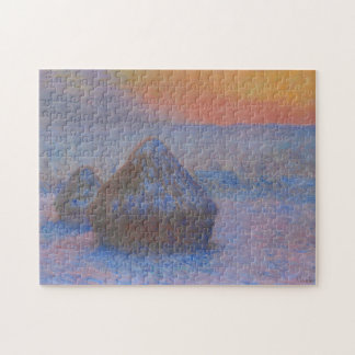 Haystacks at Sunset Snow Effect Monet Fine Art Jigsaw Puzzle