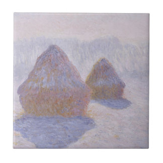 Haystacks Effect of Snow and Sun Ceramic Tile