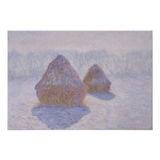 Haystacks Effect of Snow and Sun Poster