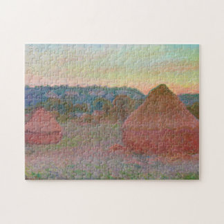 Haystacks End of Day Autumn Monet Fine Art Puzzle