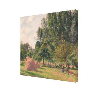 Haystacks, Morning, Eragny Canvas Print