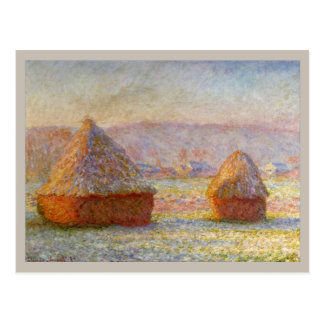Haystacks, White Frost Effect by Monet Postcard