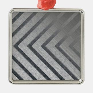 Hazard Stripe Metal Silver-Colored Square Decoration