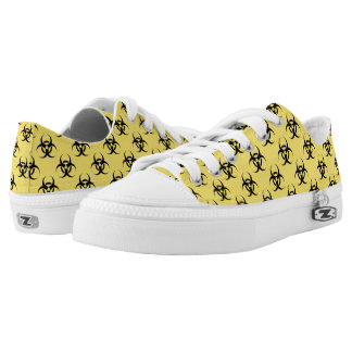 Hazardous Biological Symbol Patterned Yellow Black Printed Shoes