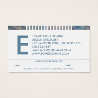 hazed monogram appointment reminder business card