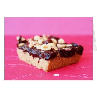 Hazelnut and chocolate caramel bars card
