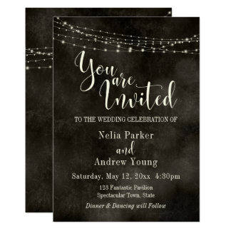 "Hazy Black, Light String ""You Are Invited"" Wedding Card"