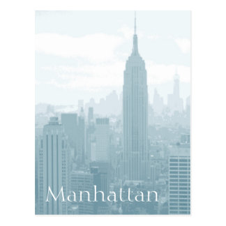 Hazy Blue Manhattan Skyline Typography Postcard
