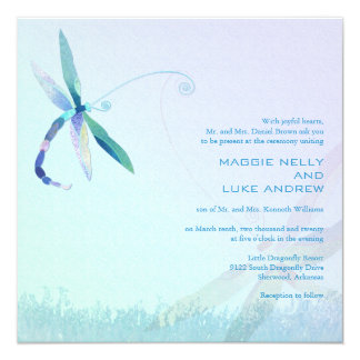 Hazy Morning Blue Dragonfly Wedding Card