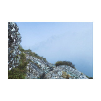 Hazy Mountain Range Valley Misty Color Photograph Canvas Print
