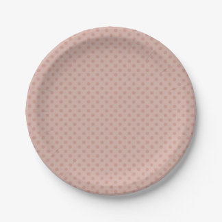 Hazy taupe/rose polka dots 7 inch paper plate