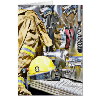 HDR Fireman Gear and Fire Truck Greeting Cards