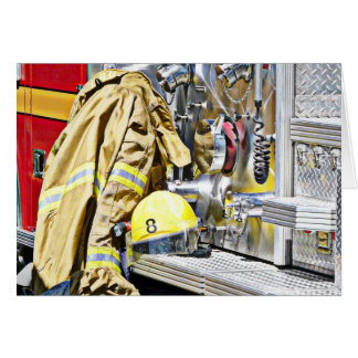 HDR Fireman Gear and Fire Truck Greeting Card