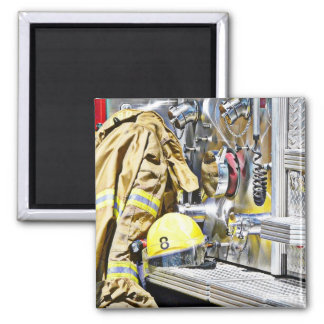 HDR Fireman Gear and Fire Truck Refrigerator Magnet