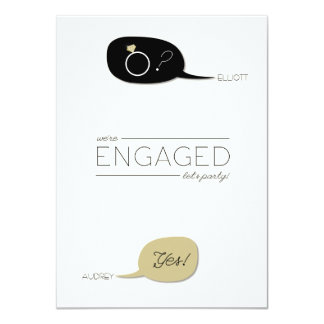 He Asked & She Said Yes! Chic Engagement Party Card