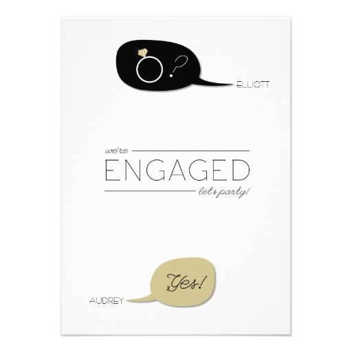 He Asked & She Said Yes! Chic Engagement Party Custom Invitations