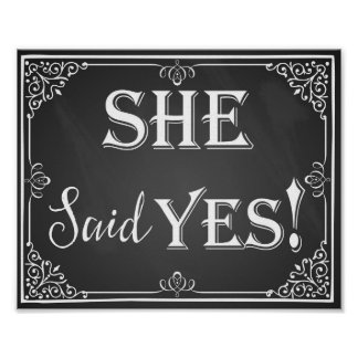 He asked she said yes engagement photo prop sign poster