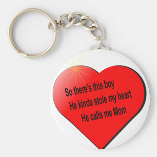 He call me Mom........ Basic Round Button Key Ring