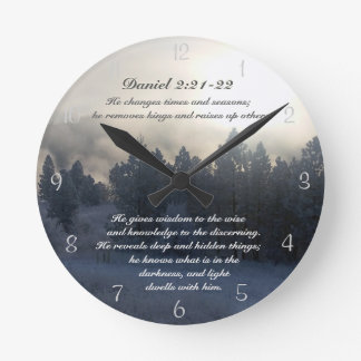 He changes times and seasons, Daniel 2:21 Bible Wall Clocks