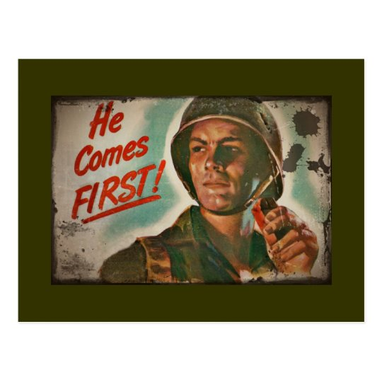He Comes First WWII Food Rationing Postcard