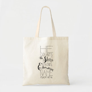 He Counts the Stars Hand Lettered Tote
