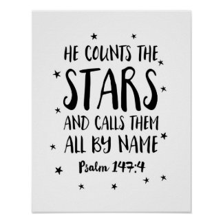 He counts the stars Psalms kids print poster