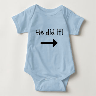 He did it! Boy left pointing arrow Baby Bodysuit