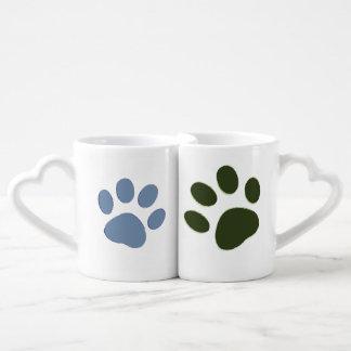 he dog paw & she dog paw couple mugs