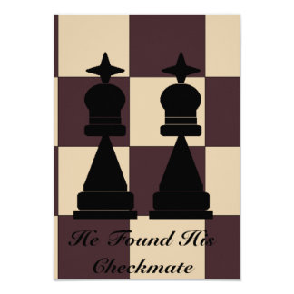 """He Found His Checkmate"" Two Kings Invitation 3.5"" X 5"" Invitation Card"