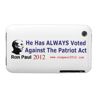 He Has Always Voted Against The Patriot Act iPhone 3 Covers