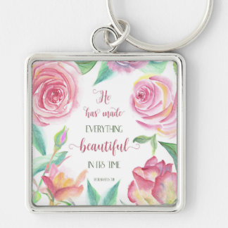 He Has Made Everything Beautiful Ecclesiastes 3:11 Silver-Colored Square Key Ring
