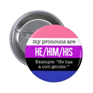 He/Him Pronouns – Genderfluid Flag 6 Cm Round Badge