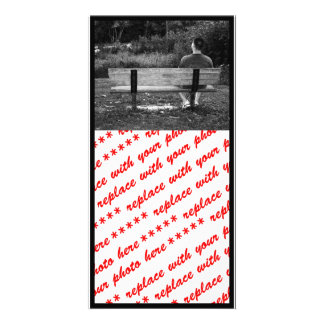 He is Alone on a Park Bench Personalized Photo Card